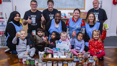 Barney Bears Nursery pupils and staff donating to the food bank at Bethel Christian Centre. Picture: