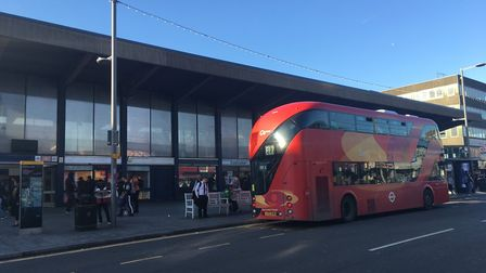 An EL2 bus in front of Barking station. Picture: Luke Acton.