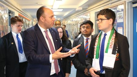 Palestinian ambassador Dr Husam Zomlot at All Saints speaking to students. Picture: All Saints Schoo
