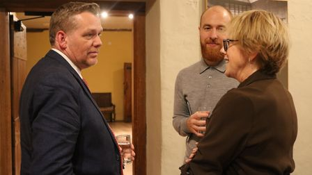 Council leader Darren Rodwell speaking to Shelter CEO and commission chair Polly Neate. Picture: LBB