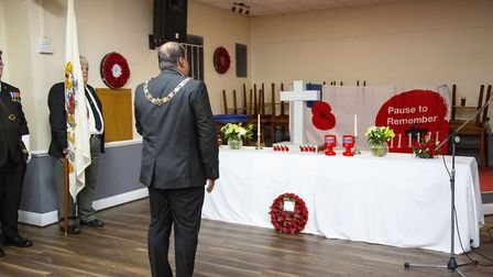 Mayor of Barking and Dagenham Cllr Peter Chand lays a wreath. Picture: Ellie Hoskins