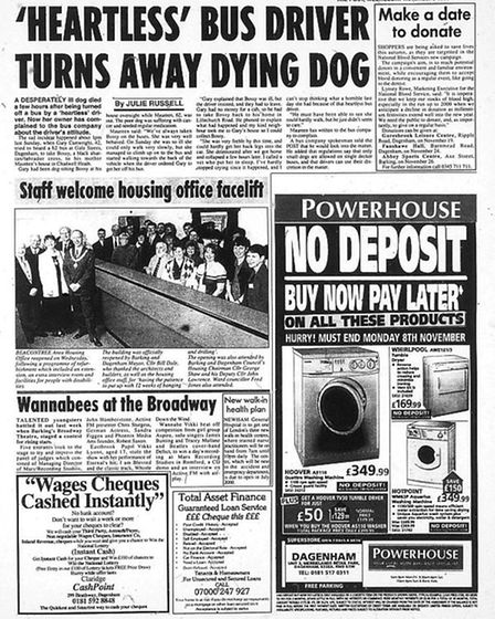 The Barking and Dagenham Post this week in 1999. Picture: Archant