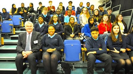 Lord Burnett of Maldon, the Lord Chief Justice of England and Wales, with pupils from Jo Richardson