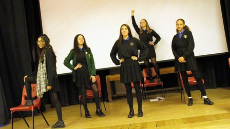 The cast of Made in Dagenham in rehearsal. Picture: Sydney Russell School