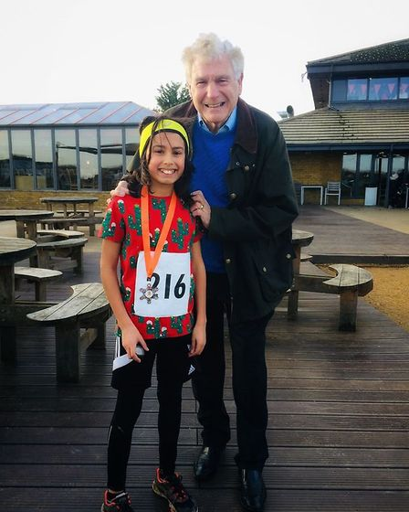 Ryder Islam with Sir Trevor Brooking at the Frankie's Festive 5k