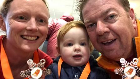Dagenham 88s Suzanne and Steve Easley, with Chloe, at Frankie's Festive 5k