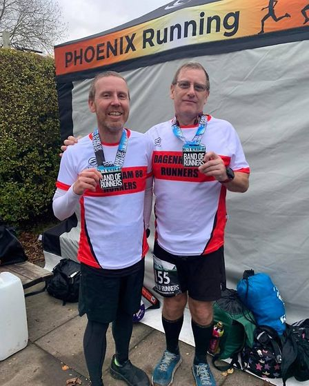 Andrew Wright and Alan Wicks at the Band of Runners Marathon