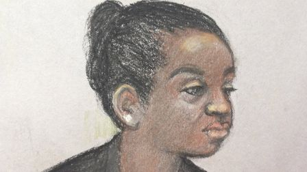 Court artist sketch of Agnes Taylor, the ex-wife of former Liberian president Charles Taylor. Pictur