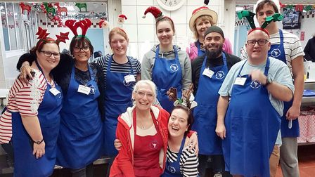 Emdad Rahman (third from the right) at the Whitechapel Mission for Christmas 2017. Picture: via Emda