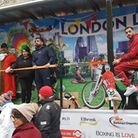 Barking and Dagenham's mayor Peter Chand (second from the left) was on the float helping celebrate s