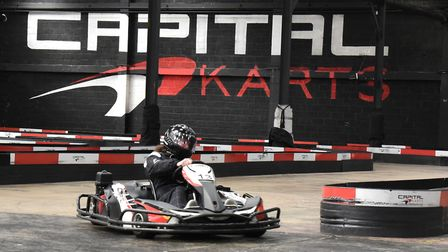A racer at Capital Karts in Barking. Picture: Ken Mears.