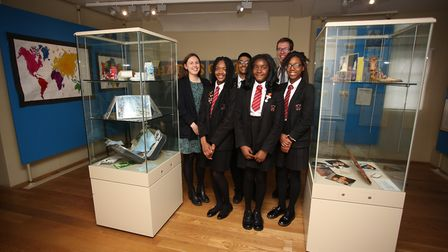 Sam Norwood and fellow Robert Clack history teacher Katy Staten with some of the pupils who curated
