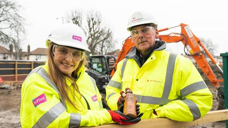Be First'�s heritage engagement manager, Simone Panayi, with site manager Rob Finbow. Picture: Andre