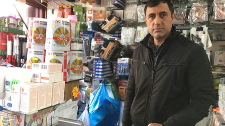Farid Abibhola, manager at 97p Knockout, sold out of hand gels at the start of the week. Picture: Jo