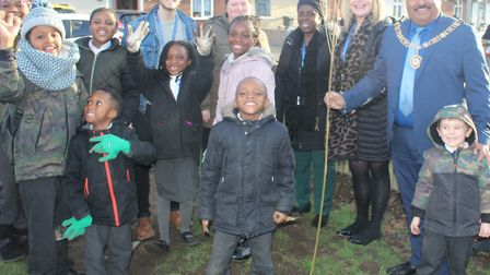 Thomas Arnold Primary School pupils and staff with Mayor Peter Chand at the green. Picture: Thomas A