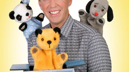 Richard Cadell with Soo, Sooty and Sweep. Picture: Steve Ullathorne