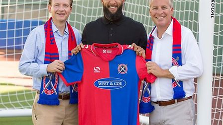 Americans Craig Unger, Tim Howard and Peter B. Freund after completing their takeover of Dagenham &