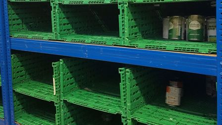 Empty shelves at a foodbank. Picture: Melanie Rochford