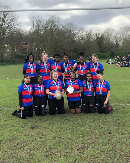 Robert Clack celebrate their London Youth Games rugby success