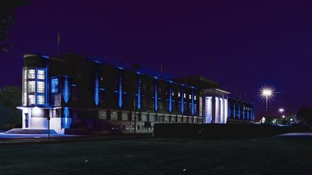 CU London's Dagenham campus was lit up in blue in support of the NHS. Picture: Jimmy Lee/CU London