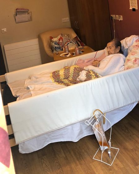 Georgina at Chestnut Court Care Home on March 31 after her daugher Janet insisted on seeing her. Pic