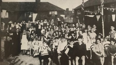 A VE Day street party in Pettits Place, Dagenham. Picture: Barking and Dagenham Archives and Local S