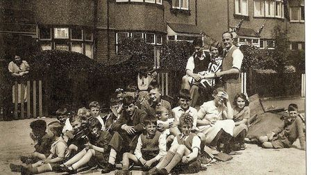 VE Day Celebrations in Pemberton Gardens, Chadwell Heath. Ron's brother in law, Keith Brooks, is fro