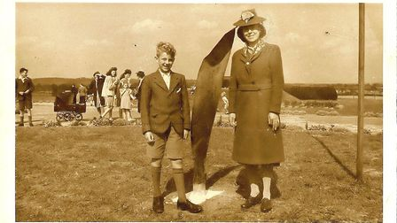 Gladys Brooks and her son, Keith (Ron's brother in law) at Whalebone Lane anti aircraft gun site's O