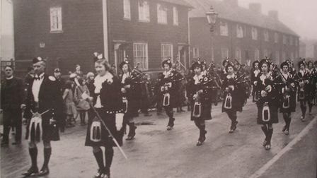 Dagenham Girl Pipers on parade in Holgate Road. Picture: Ronald Lloyd
