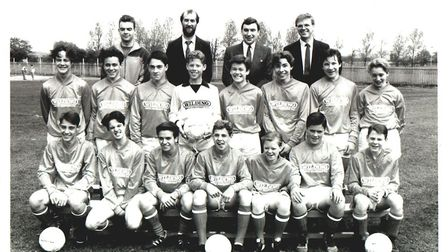 The Robert Clack year 10 football team before their 1989 tour of Germany