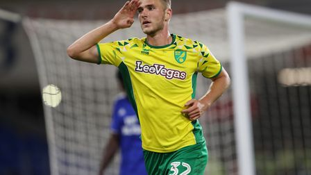 SC Paderborn's Dennis Srbeny celebrates scoring for Norwich CIty during a Carabao Cup tie against Ca