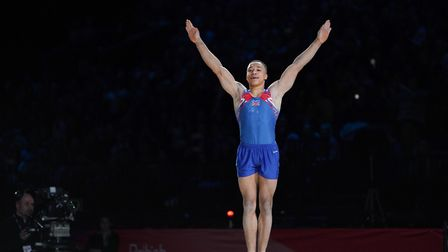 GB gymnast Joe Fraser has backed the #PresentforPounds fundraising initiative for the NHS (pic Briti