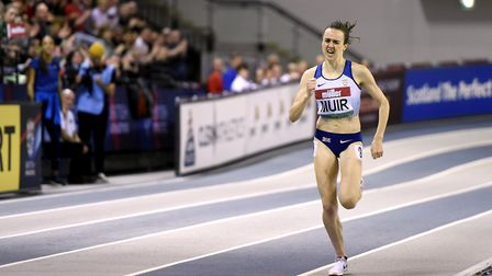 Great Britain's Laura Muir on the way to winning the women's 1000m at the Muller Indoor Grand Prix a