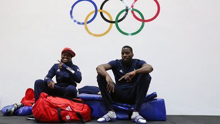 Lawrence Okolie relaxes with team-mate Nicola Adams at the Rio Olympics (pic: David Davies/PA)