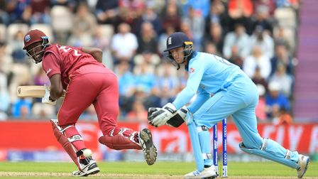 West Indies batsman Carlos Brathwaite in action against England during the 2019 ICC World Cup