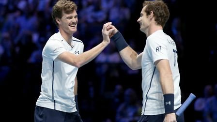 Jamie and Andy Murray during an exhibition doubles match at the SSE Hydro, Glasgow