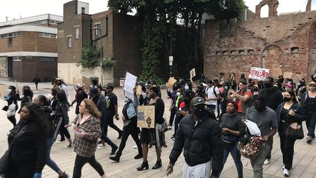 Crowds walking toward Barking Town Hall at today's Black Lives Matter protest, which attracted hundr