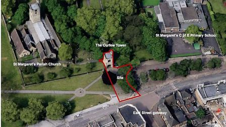 An aerial view of the Curfew Tower. Picture: Be First