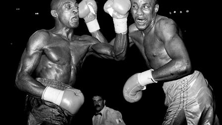 Sheffield's Herol Graham (left) and New York's Mike McCallum feel each other's punching power during