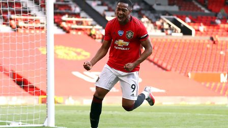 Manchester United's Anthony Martial celebrates completing the latest Premier League hat-trick agains