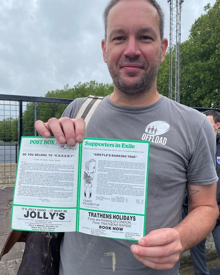 Barking fan Mark Harris, who still has the match programme from the FA cup game in1983 between Argyl