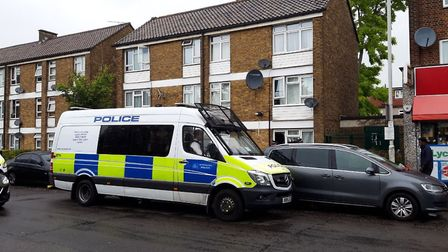 Police at the scene in Green Lane. Picture: Ken Mears