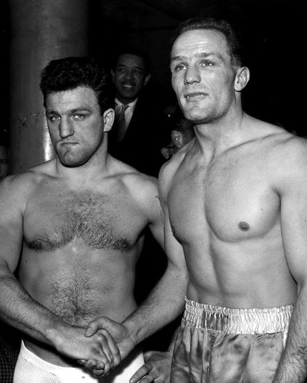 British and Empire heavyweight champion Brian London (left) and challenger Henry Cooper