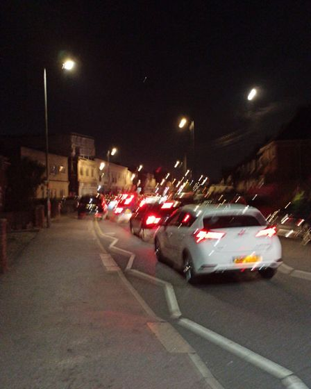 A queue of traffic as party-goers arrive at the venue. Picture: LBBD