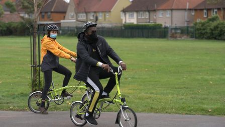 Isaac at the Learn and Ride session with Mollie McCulloch of Sustrans. Picture: Andrew Baker