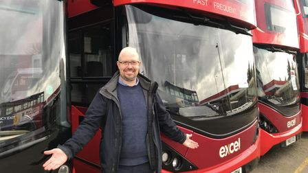 First Eastern Counties buses marketing manager David Jordan in front of its eco fleet of buses. Pict
