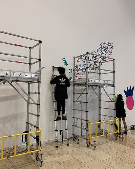 The graffiti artwork in Chapelfield marking a new direction for the centre, by Knapple and MissE. Pi