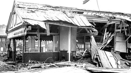 Offices at Herring Market in Lowestoft destroyed by a bomb on September 29, 1940. Picture: Bert Coll