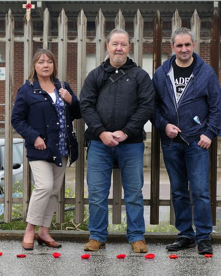 L to R: Bernie Rappensberger, Bob Collis and Andy Pearce close to the spot in Lowestoft where a wart