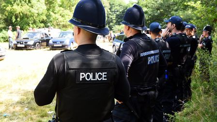 Police at an unlicensed music event in Norfolk PIC: James Bass.
